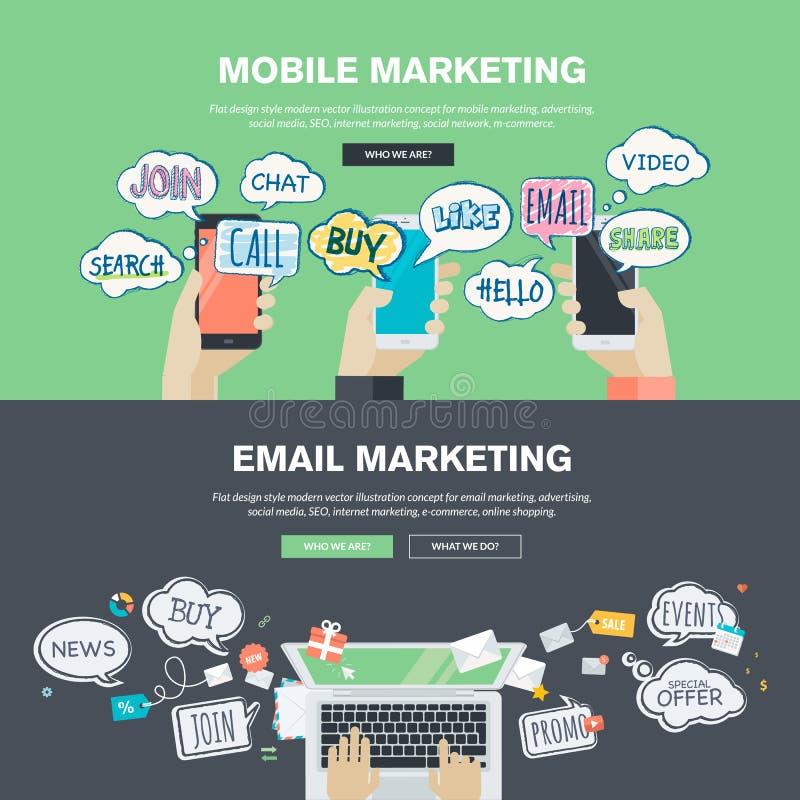Sistema de los conceptos planos del ejemplo del diseño para el márketing del móvil y del correo electrónico libre illustration