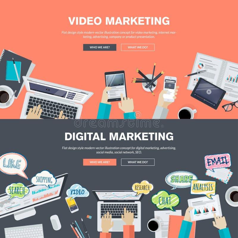 Sistema de los conceptos planos del ejemplo del diseño para el márketing video y digital stock de ilustración