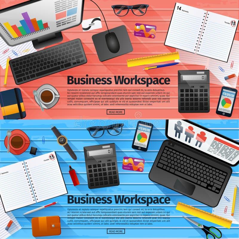 Sistema de los conceptos planos del ejemplo del diseño para el negocio stock de ilustración