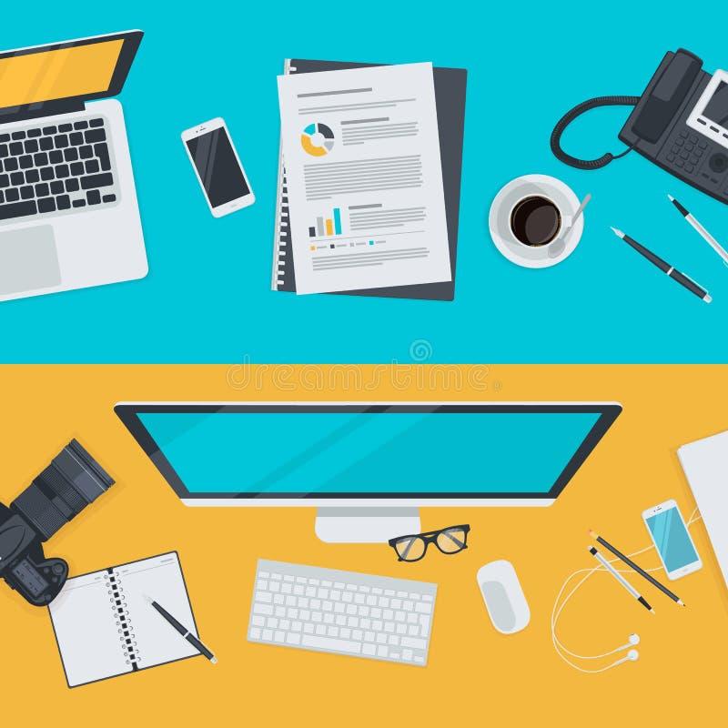 Sistema de los conceptos planos del ejemplo del diseño para hacer publicidad, negocio, comercio electrónico, red social stock de ilustración