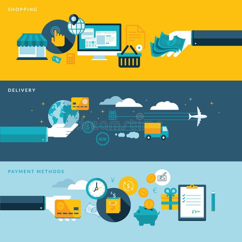 Sistema de los conceptos planos del ejemplo del diseño para las compras, la entrega y las formas de pago en línea libre illustration