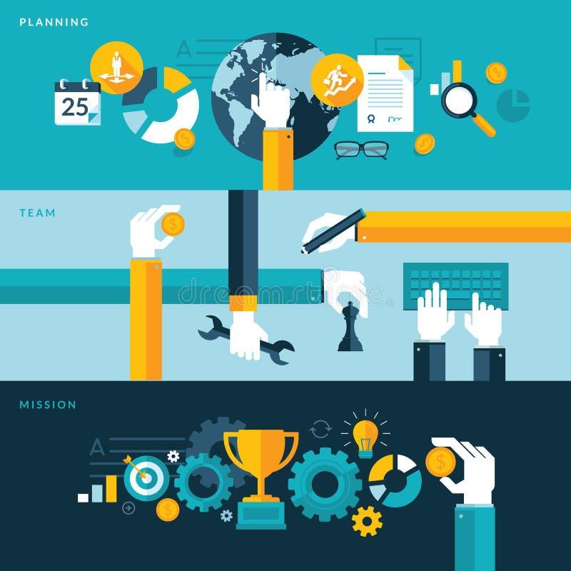 Sistema de los conceptos planos del ejemplo del diseño para planear, el trabajo en equipo y la misión stock de ilustración