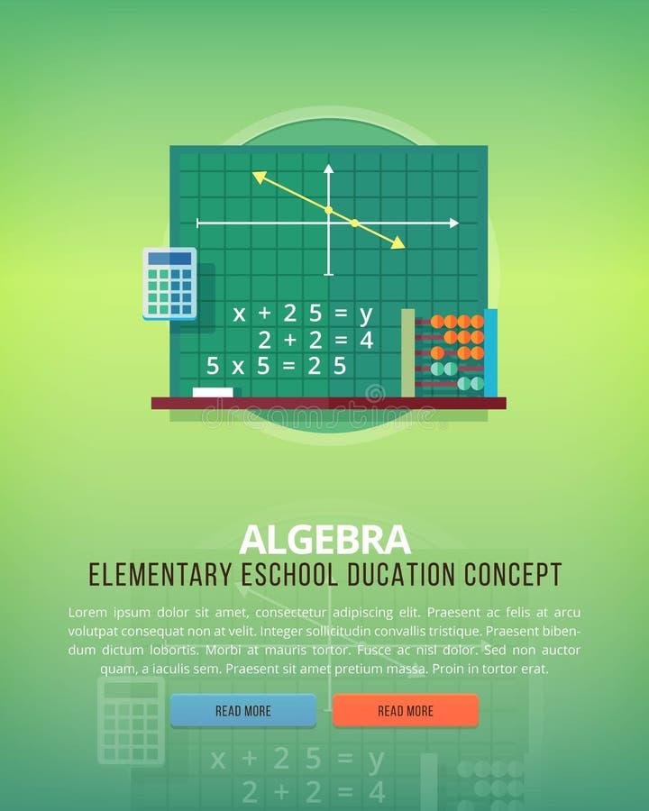 Sistema de los conceptos planos del ejemplo del diseño para la álgebra Ideas de la educación y del conocimiento Ciencia matemátic ilustración del vector