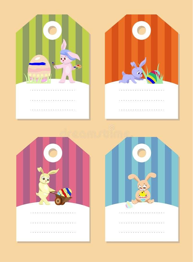 Etiquetas engomadas con los conejos stock de ilustración