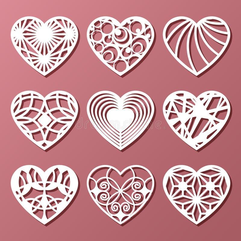 Sistema de los corazones decorativos para el corte del laser libre illustration