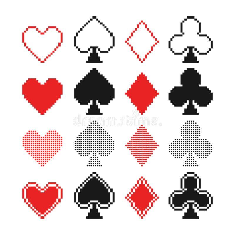 Sistema de los corazones del pixel, de los clubs, de las espadas y de los diamantes ic ilustración del vector