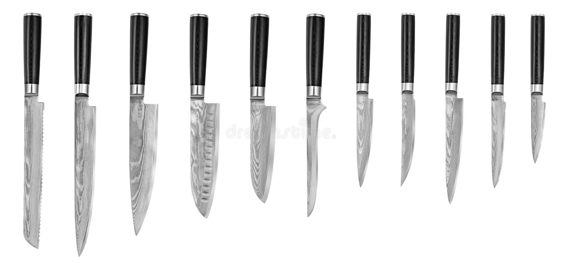 Sistema de los cuchillos de cocina de acero japoneses Damasco, aislado en el fondo blanco con la trayectoria de recortes Cuchillo imagen de archivo
