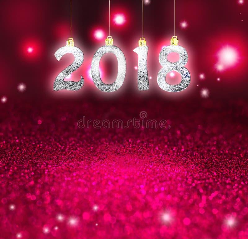 Sistema de los dígitos brillantes de plata en fondo del brillo Fondo 2018 del Año Nuevo Navidad fotos de archivo
