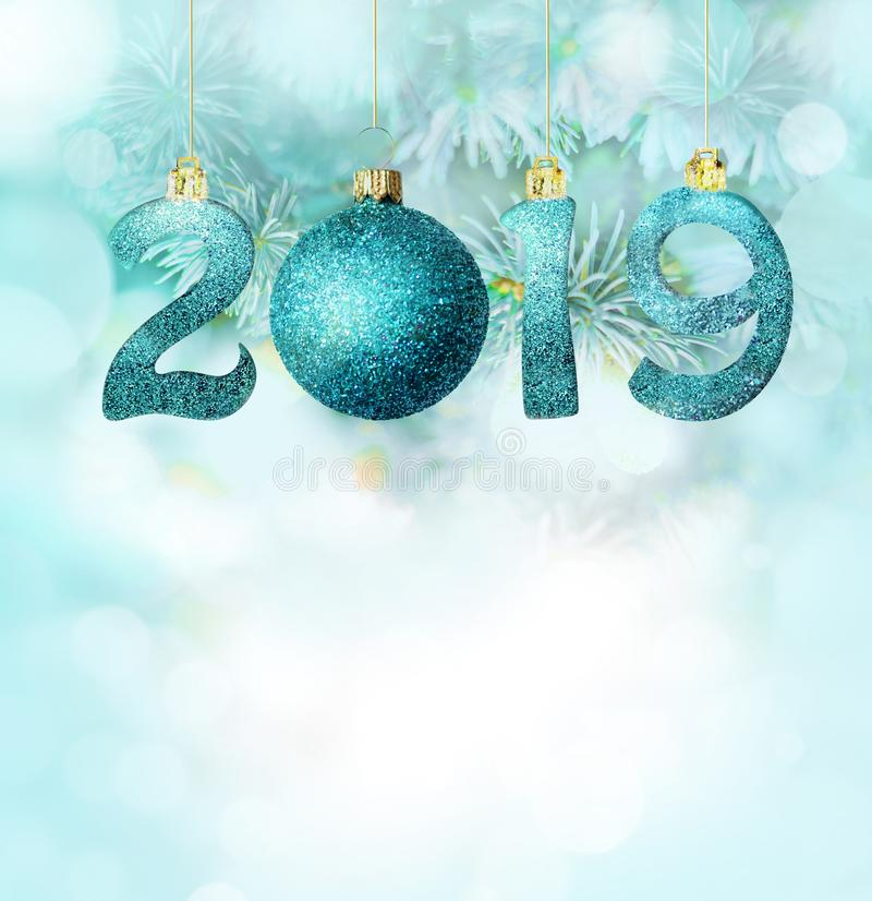 Sistema de los dígitos brillantes de plata en fondo del brillo Fondo 2019 del Año Nuevo Navidad fotografía de archivo libre de regalías