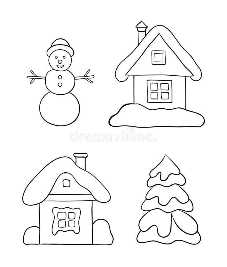 Sistema De Los Dibujos Del Invierno Para Colorear