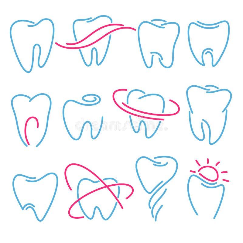 Sistema de los dientes, iconos del diente en el fondo blanco Puede ser utilizado como logotipo para dental, el dentista o la clín ilustración del vector
