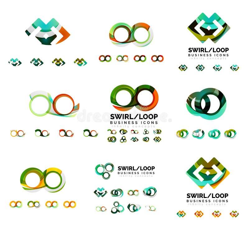 Sistema de los diseños de marcado en caliente del logotipo de la compañía, iconos del concepto del lazo del infinito del remolino ilustración del vector