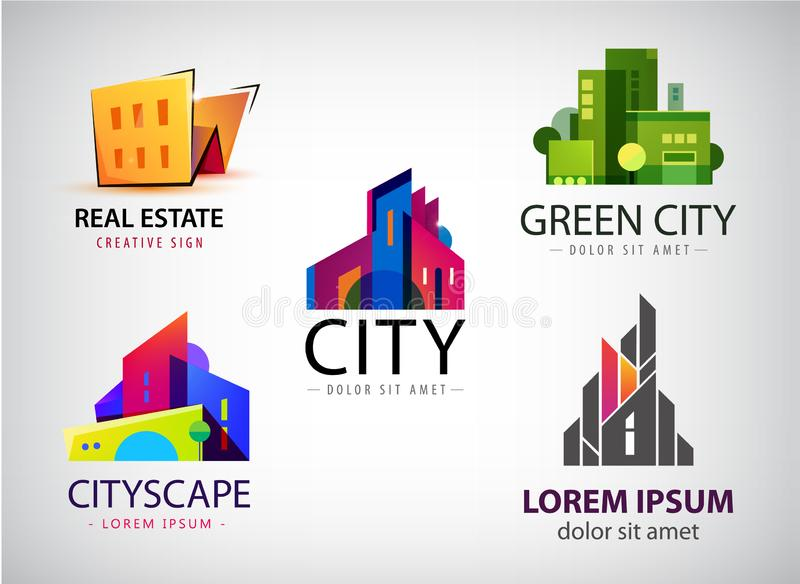 Sistema de los diseños multicolores del logotipo de las propiedades inmobiliarias para la identidad visual del negocio, edificio, stock de ilustración