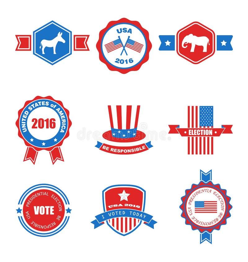 Sistema de los diversos objetos graphics y etiquetas de votación, emblemas, símbolos libre illustration