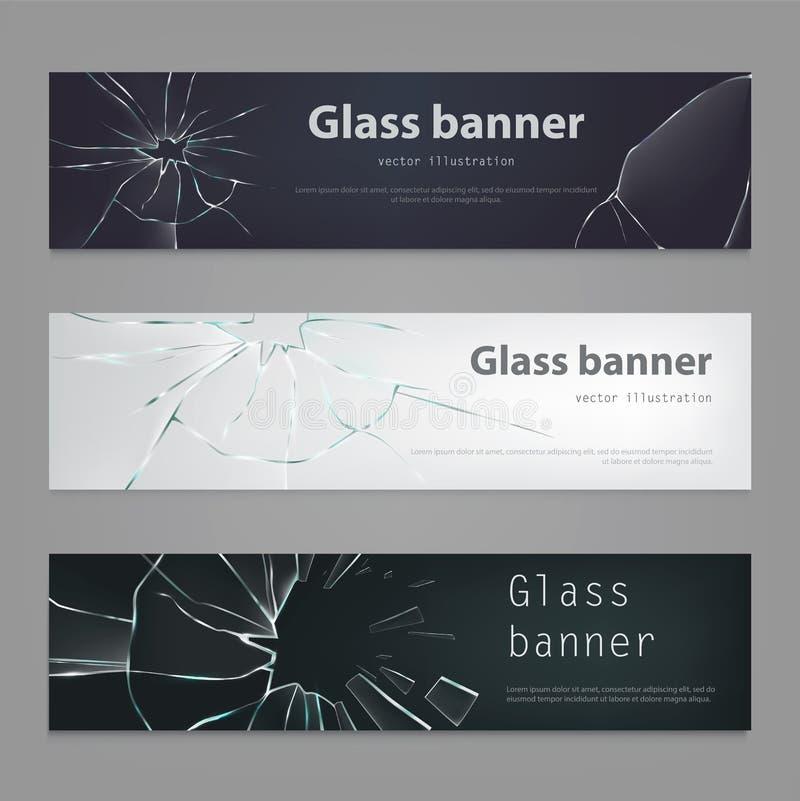 Sistema de los ejemplos de banderas de cristal quebradas, vidrio agrietado ilustración del vector
