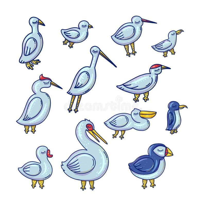Sistema de los ejemplos de color del vector de los pájaros de la historieta stock de ilustración