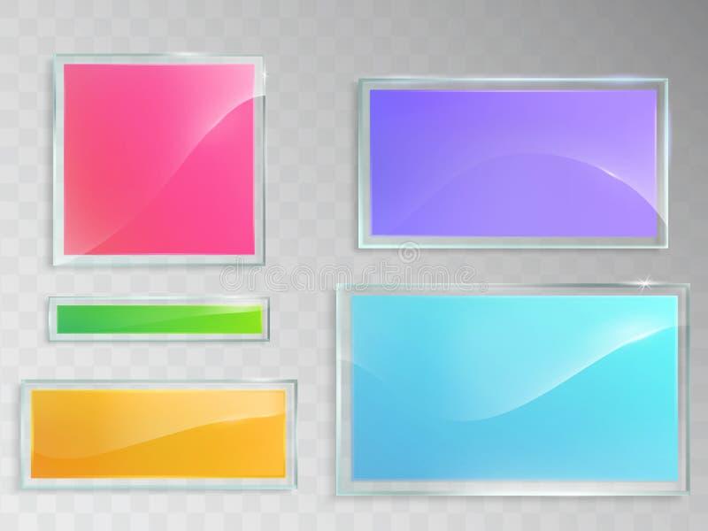 Sistema de los ejemplos del vector de las banderas de cristal en fondo gris libre illustration