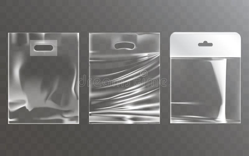 Sistema de los ejemplos del vector de las bolsas de plástico transparentes con la ranura de la caída libre illustration