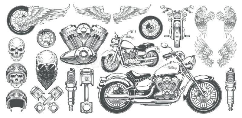 Sistema de los ejemplos del vector, iconos de la motocicleta en diversos ángulos, cráneos, alas del vintage stock de ilustración