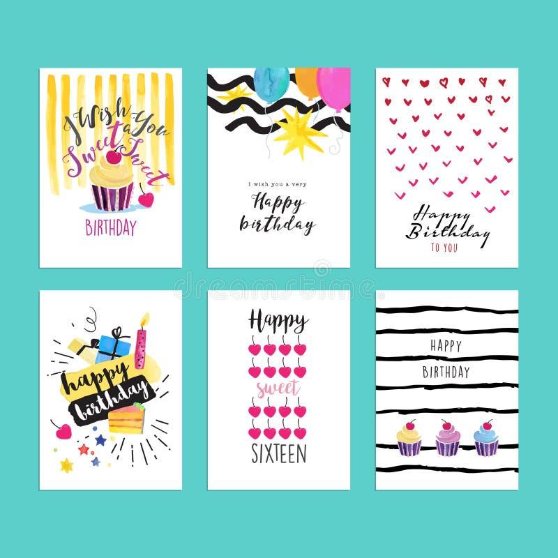 Sistema de los ejemplos dibujados mano de la acuarela para las tarjetas de felicitación del cumpleaños