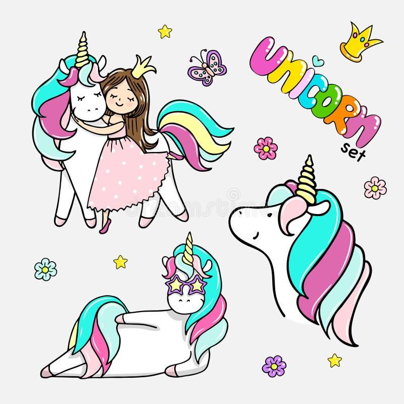 Sistema de los ejemplos dibujados mano de unicornios mágicos, muchacha con un unicornio Ejemplo aislado vector ilustración del vector