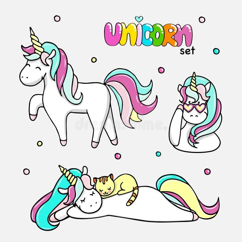 Sistema de los ejemplos dibujados mano de unicornios mágicos, un unicornio con un gato Ejemplo aislado vector stock de ilustración