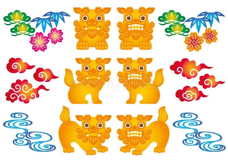 Sistema de los ejemplos de Okinawa ilustración del vector