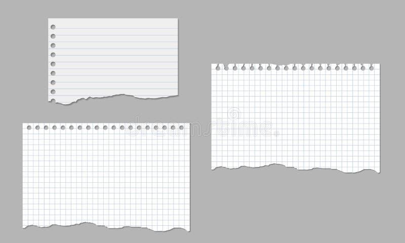 Sistema de los ejemplos realistas del vector de hojas rasgadas del papel alineado y cuadrado aislado stock de ilustración