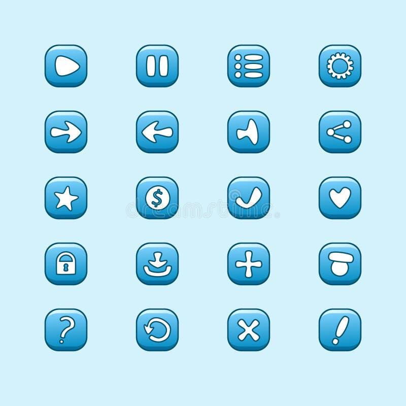 Sistema de los elementos azules móviles del vector para el diseño de juego de UI ilustración del vector