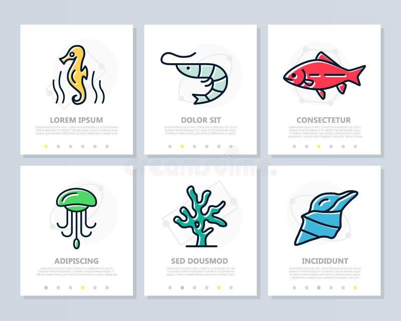 Sistema de los elementos coloreados de los pescados y del marisco para la plantilla multiusos de la presentación a4 Prospecto, in libre illustration