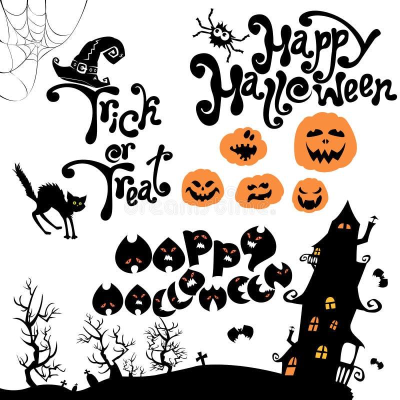 Download Sistema De Los Elementos De Halloween - Calabaza, Gato, Misterio Ilustración del Vector - Ilustración de caligráfico, medianoche: 44850683