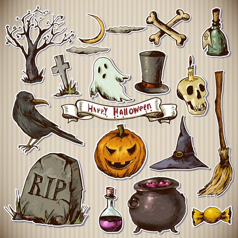 Sistema de los elementos de Halloween del diseño de los garabatos stock de ilustración