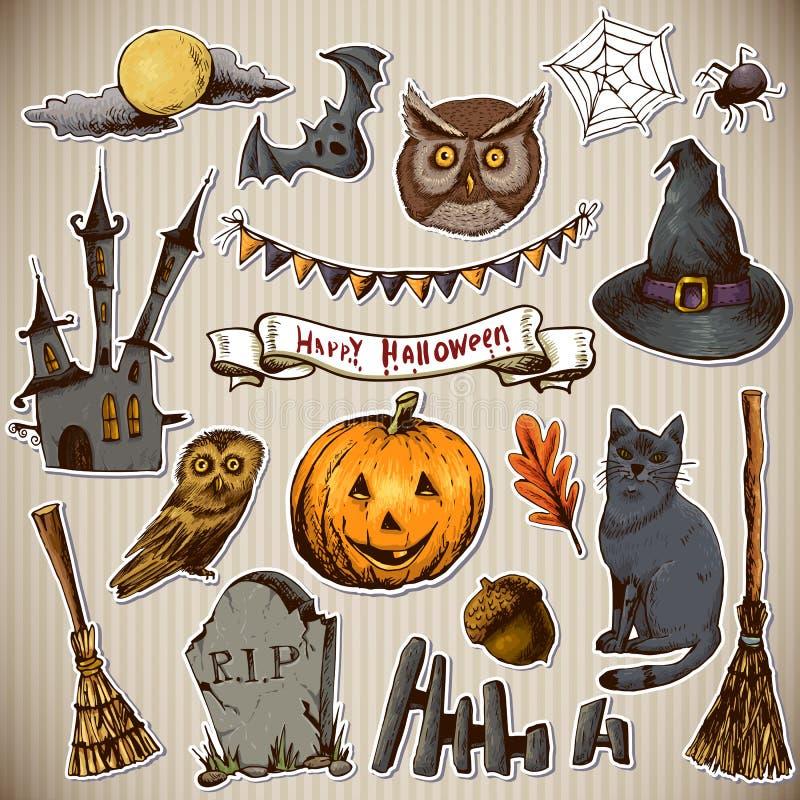 Sistema de los elementos de Halloween del diseño de los garabatos ilustración del vector