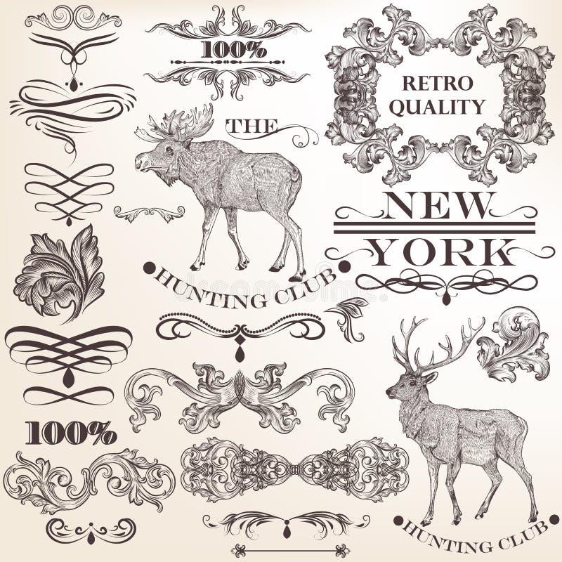 Sistema de los elementos decorativos del vintage del vector para el diseño ilustración del vector