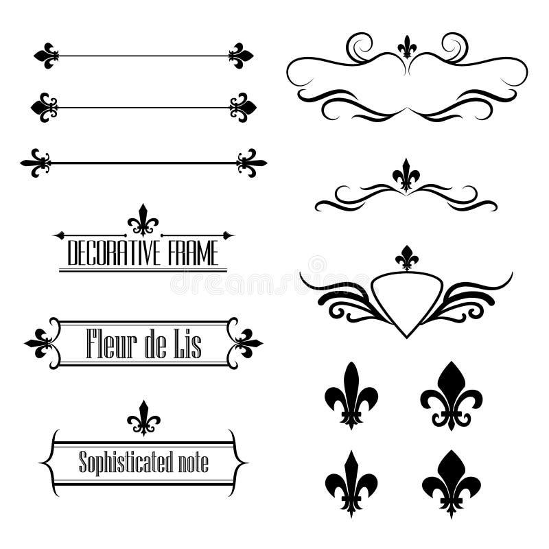Sistema de los elementos del diseño del flourish, de las fronteras y de los bastidores caligráficos - flor de lis ilustración del vector