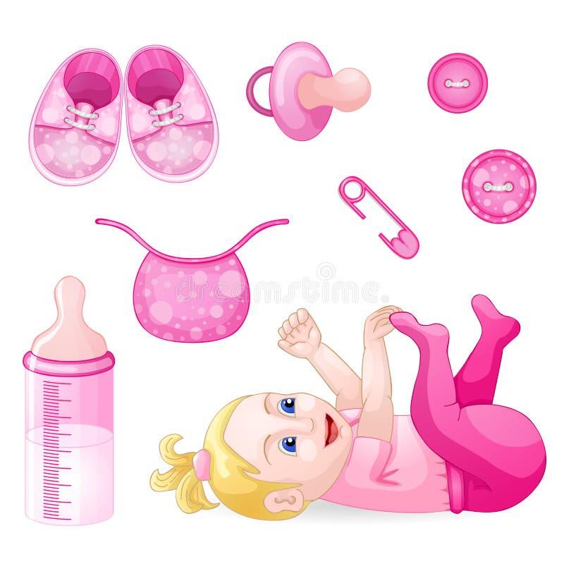 Sistema de los elementos del diseño para la fiesta de bienvenida al bebé libre illustration