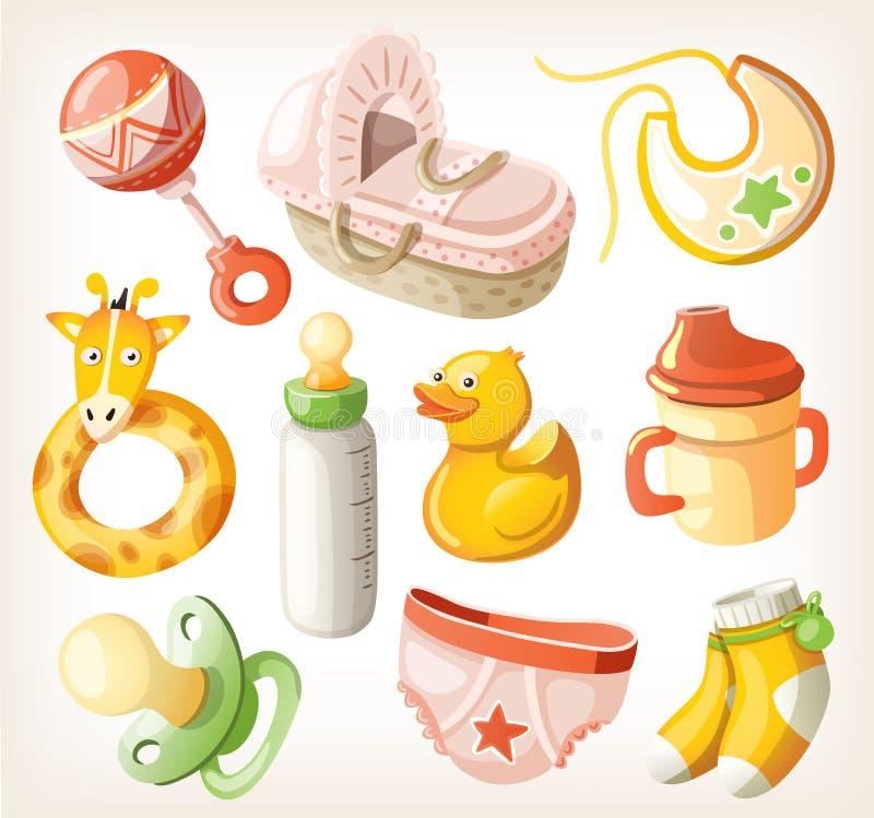 Sistema de los elementos del diseño para la fiesta de bienvenida al bebé ilustración del vector