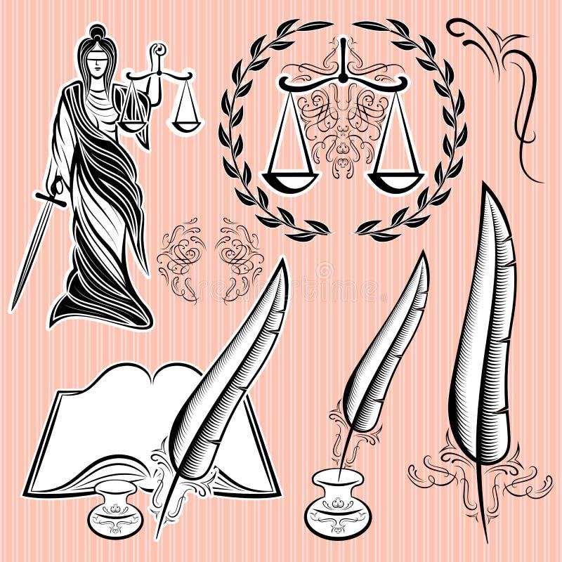 Sistema de los elementos del diseño para la ley ilustración del vector