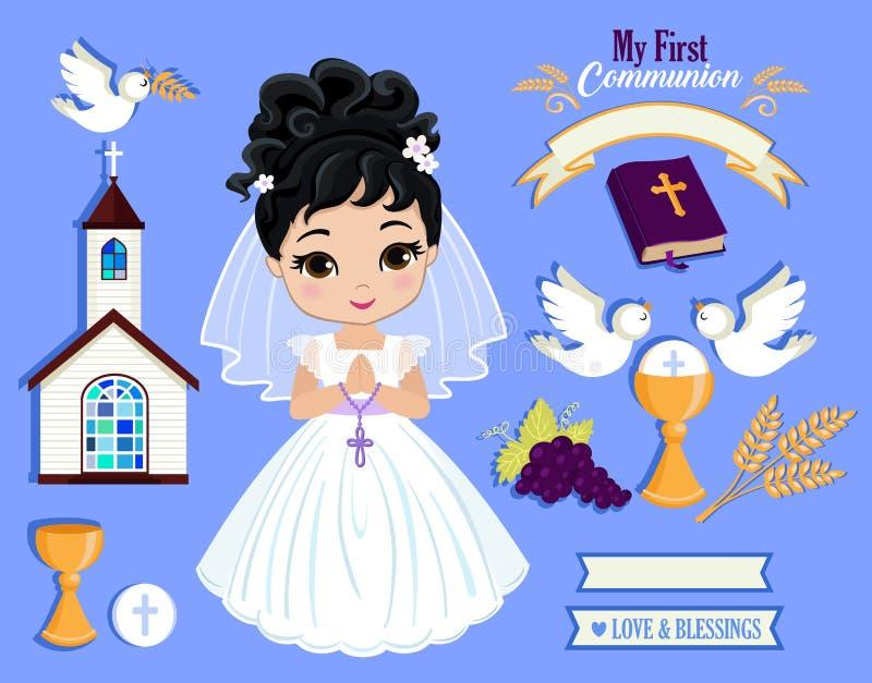 Sistema de los elementos del diseño para la primera comunión para las muchachas imágenes de archivo libres de regalías