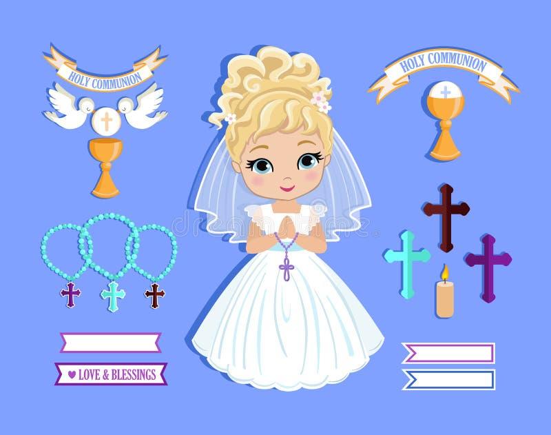 Sistema de los elementos del diseño para la primera comunión para las muchachas fotos de archivo libres de regalías