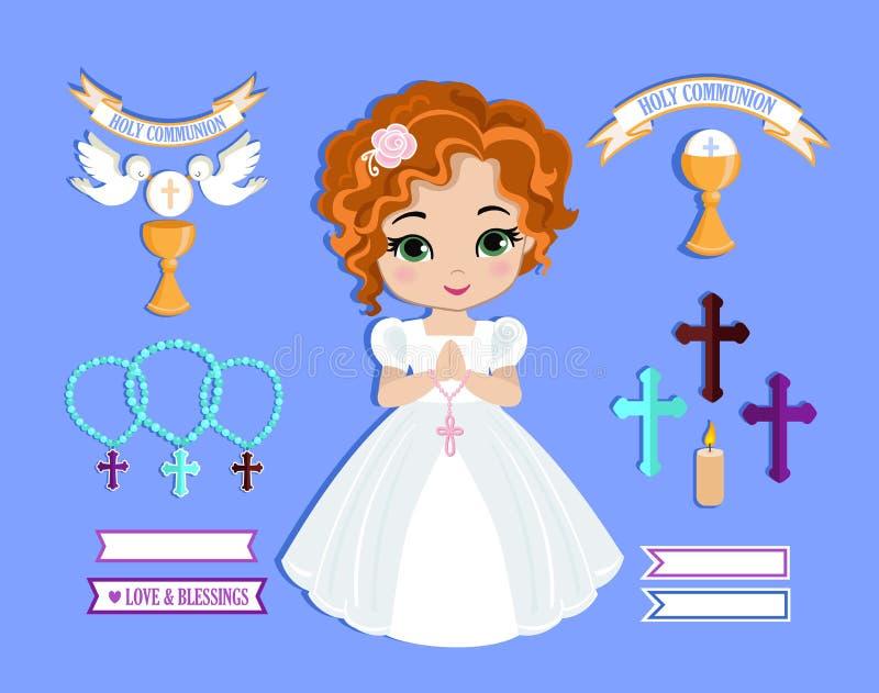 Sistema de los elementos del diseño para la primera comunión para las muchachas imagen de archivo