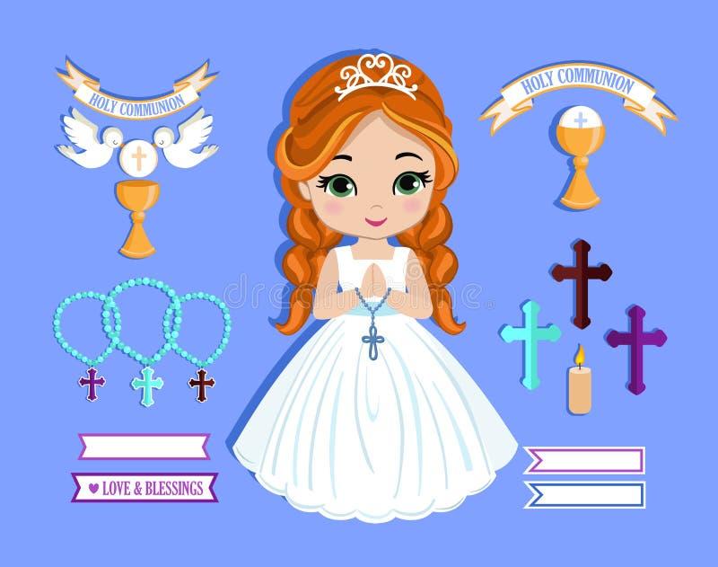 Sistema de los elementos del diseño para la primera comunión para las muchachas imagen de archivo libre de regalías