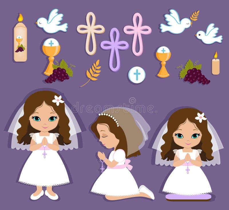 Sistema de los elementos del diseño para la primera comunión para las muchachas stock de ilustración