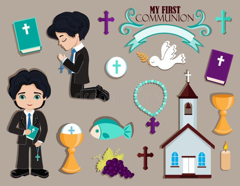Sistema de los elementos del diseño para la primera comunión para los muchachos stock de ilustración