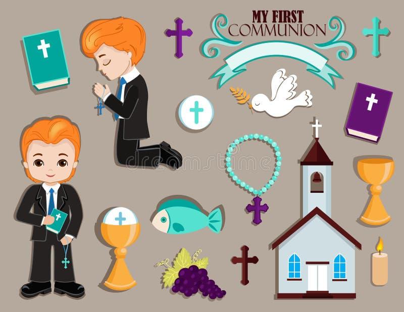 Sistema de los elementos del diseño para la primera comunión para los muchachos ilustración del vector