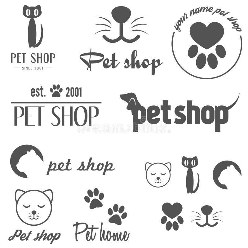 Sistema de los elementos del logotipo y del logotipo del vintage para el animal doméstico ilustración del vector