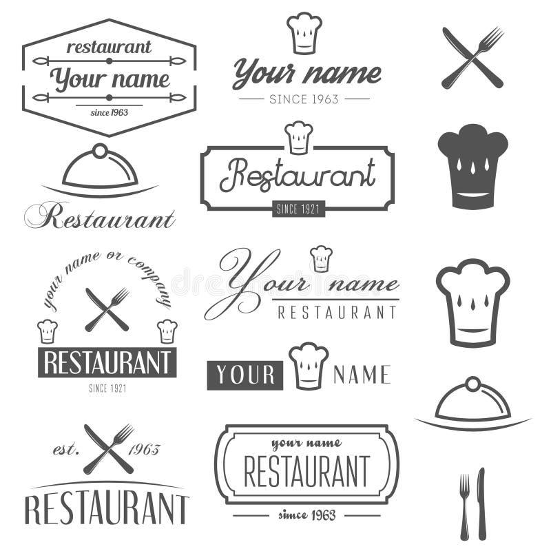 Sistema de los elementos del logotipo y del logotipo para el restaurante stock de ilustración