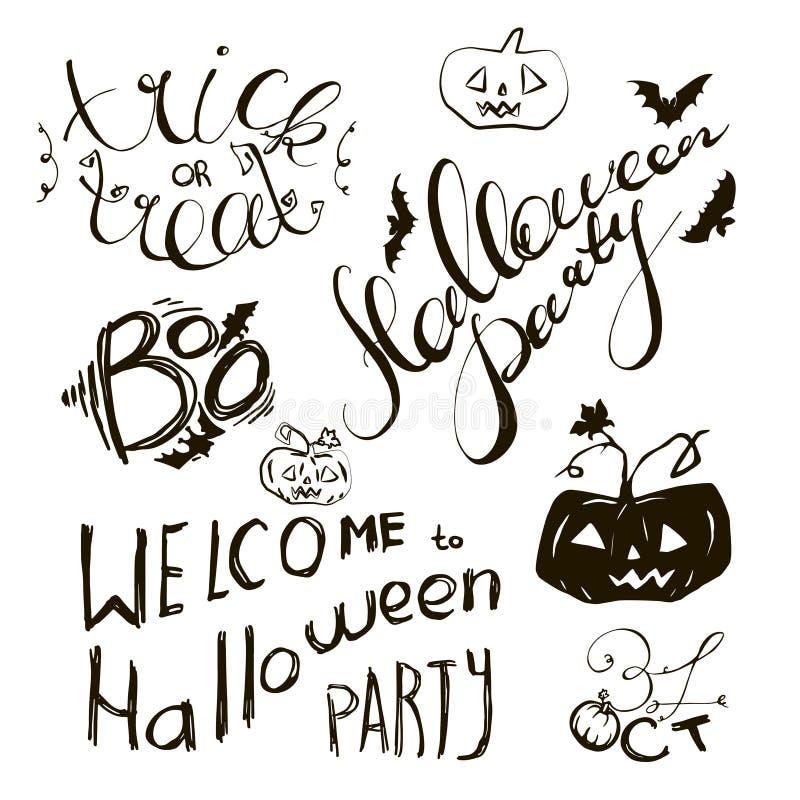 Sistema de los elementos dibujados mano de Halloween y letras para la tarjeta o la invitación de felicitación Dé los bosquejos ex libre illustration