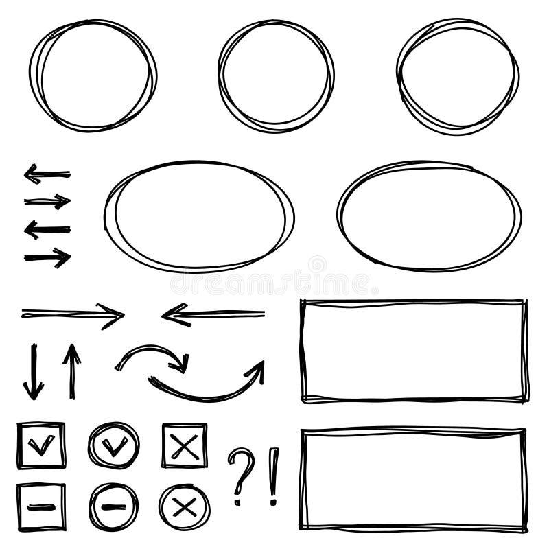 Sistema de los elementos dibujados mano para seleccionar el texto stock de ilustración