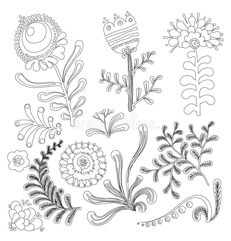 Sistema de los elementos florales del diseño gráfico para el libro de colorear libre illustration